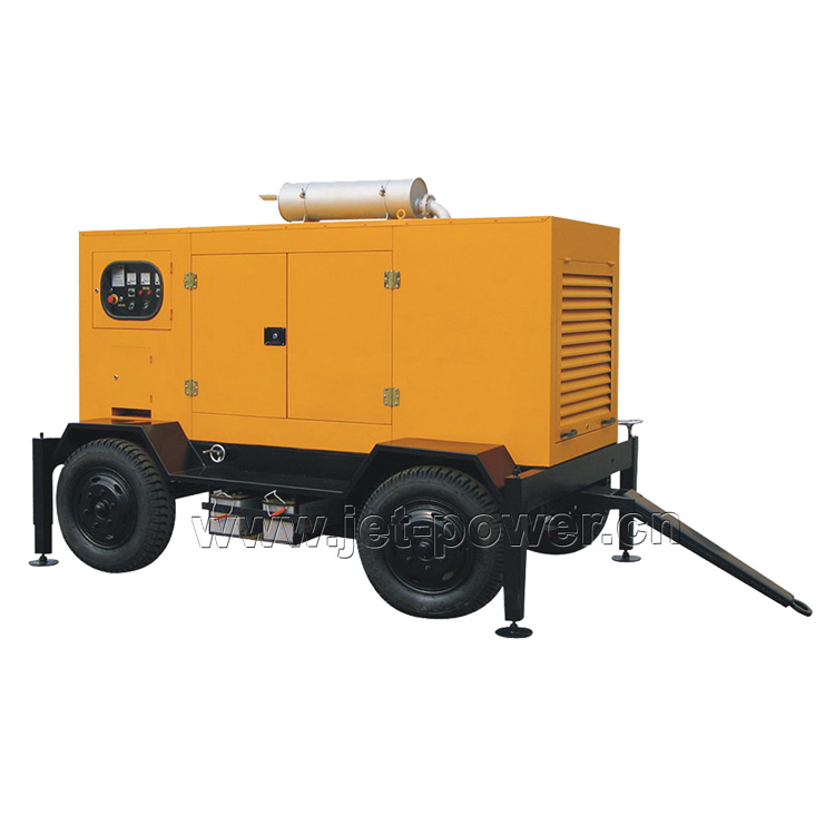 Trailer Type diesel generator set with 4 wheels